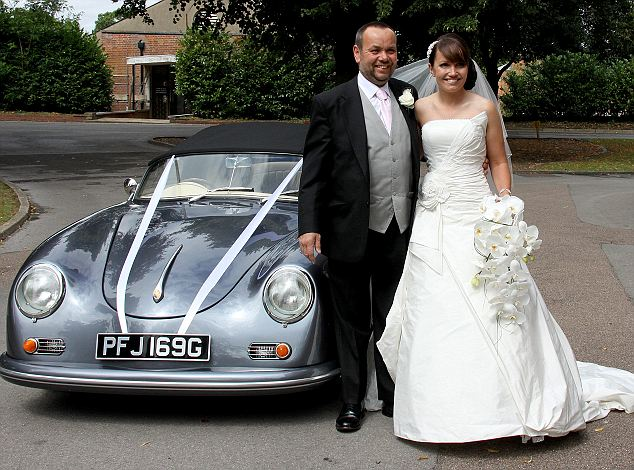 Bride arrives in Porsche wedding car she hand-built herself
