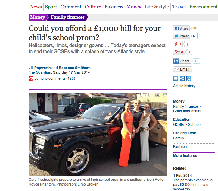The Guardian Recognises Limo Broker as the UKs Leading Prom Car Hire Provider