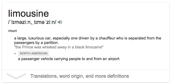Where did the word 'Limousine' come from?