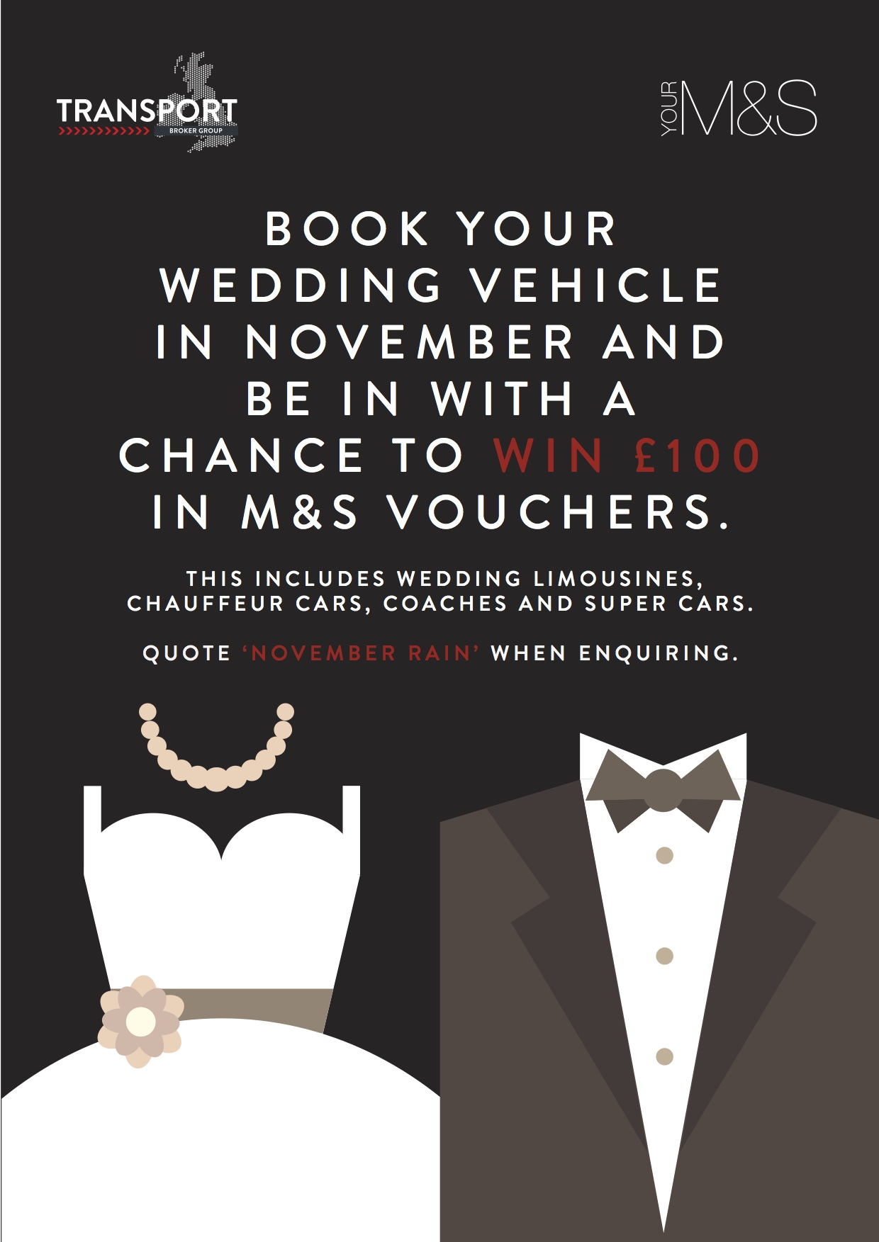 November Wedding Deal: Book Your Wedding Car This Month and You Could Win £100 Marks & Spencer Vouchers