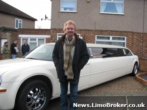 Noel Edmonds goes to collect the sisters in the luxury limo donated by Wild Stretch Limousines