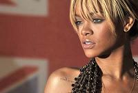 Barbadian singer Rhianna poses on the re
