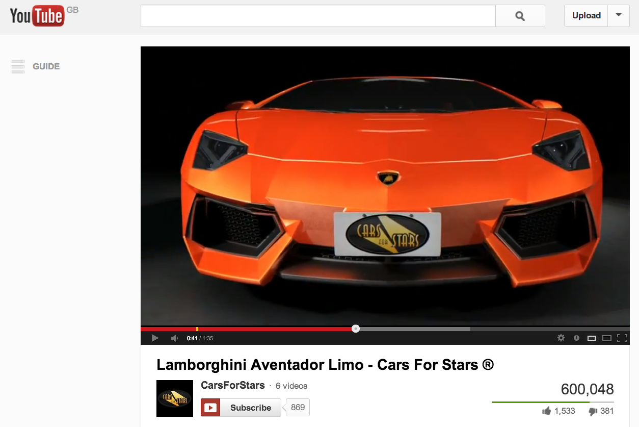 Cars For Stars' Lambo Limo reaches 600,000 YouTube hits