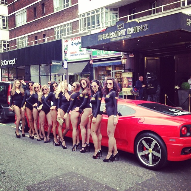 Spearmint Rhino Pick up Best Gentleman's Club in London Award in Limo Broker Ferrari Limo