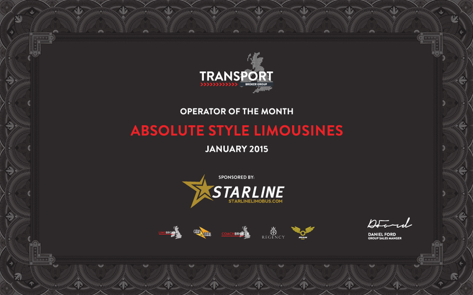 Absolute Style Limousines wins 'Operator of the Month' award
