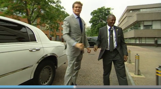 The Hoff Swings by ITV Studios in a Luxury Limo